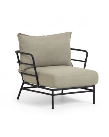 S734J03 Mareluz black steel armchair