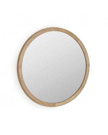 AA7989M46 Alum round solid mindi wood mirror, 80 cm