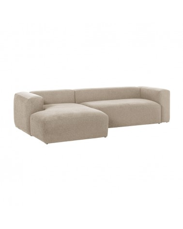 S751GR39 Blok 3-seater sofa with left-hand chaise longue in beige, 300 cm