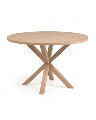 CC6020M46 - Full Argo round Ø 119 cm natural melamine table with steel legs with wood-effect finish