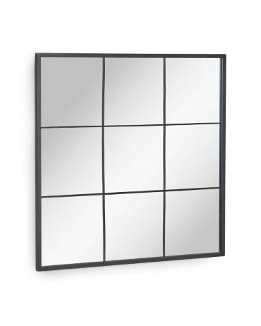 AA7891R01 - Ulrica black metal wall mirror 80 x 80 cm